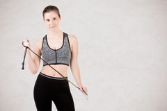 Sporty Woman With Jumping Rope Royalty Free Stock Images