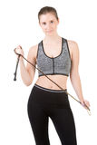 Sporty Woman With Jumping Rope Royalty Free Stock Photography