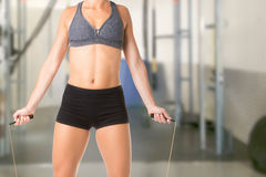 Sporty Woman With Jumping Rope Stock Photos
