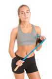 Sporty Woman With Jumping Rope Stock Photo