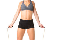 Sporty Woman With Jumping Rope Stock Image