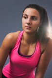 Sporty Woman Leaning Forward Closeup stock image