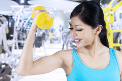 Sporty woman lifting a dumbbell Stock Image