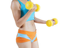 Sporty Woman Lifting Dumbbells Royalty Free Stock Image