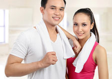 Sporty woman and man Royalty Free Stock Photo