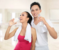 Sporty woman and man Stock Image