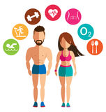 Sporty woman and man for health conscious concept Royalty Free Stock Photos