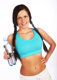 Sporty woman with mineral water Stock Photos