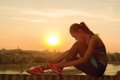 Sporty woman at morning Royalty Free Stock Images
