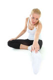 Sporty woman  over white Royalty Free Stock Images