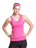 Sporty woman in pink jersey Royalty Free Stock Photo
