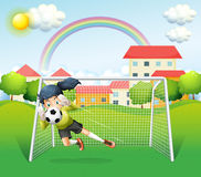 A sporty woman playing soccer Royalty Free Stock Images