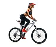 Sporty woman practicing on the bicycle in silhouette on white background. Active life. Sporty woman practicing on the bicycle in silhouette on white background royalty free stock images