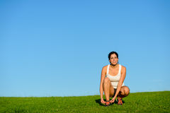 Sporty woman ready for running Royalty Free Stock Images