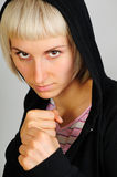 Sporty woman ready to fight stock images
