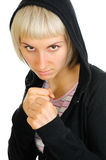 Sporty woman ready to fight Royalty Free Stock Images