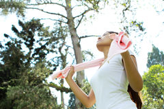 Sporty woman relaxing a body while take a deep breath Royalty Free Stock Photos