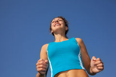Sporty woman runner, view from below Royalty Free Stock Photo