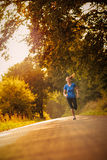 Sporty woman running on a country road Stock Images