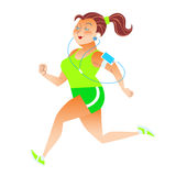 Sporty woman running herding weight kilocalories listens to musi Royalty Free Stock Photos