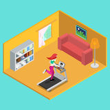 Sporty Woman Running on Treadmill at Home. Isometric People. Vector Royalty Free Stock Images