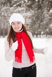 Sporty woman runs in winter Royalty Free Stock Photos