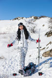 Sporty Woman in Ski Gear with Equipment at Snow Stock Photography