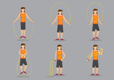 Sporty Woman Skipping Vector Character Illustration Stock Photo