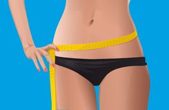 Slim woman measuring her waist. Lower body of a sporty woman with a tape measure around her slim waist, blue background Stock Photography