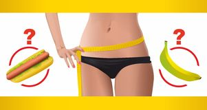 Sporty woman slim body measuring waist. With a hotdog and a banana clip-art Stock Photo