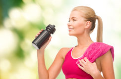 Sporty woman with special sportsman bottle Royalty Free Stock Photo
