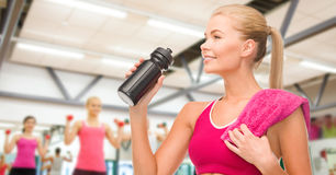 Sporty woman with special sportsman bottle. Fitness and diet concept - sporty women with special sportsman bottle and towel Stock Images