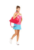 Sporty woman with sports bag Royalty Free Stock Image