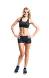 Sporty woman in sportswear  isolated on white Royalty Free Stock Photo