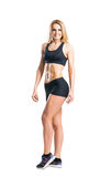 Sporty woman in sportswear  isolated on white Royalty Free Stock Photos