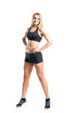 Sporty woman in sportswear  isolated on white Royalty Free Stock Photography