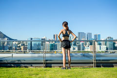Sporty woman standing Stock Image