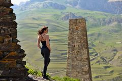 Sporty woman in the mountains. royalty free stock photos