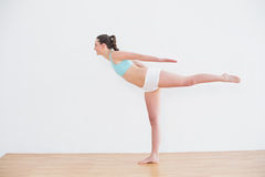 Sporty woman standing on one leg in fitness center Royalty Free Stock Image