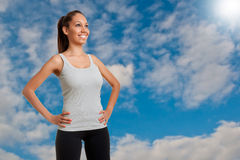 Sporty Woman Standing Stock Photo