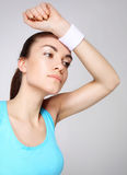 Sporty woman, strength and energy royalty free stock photos
