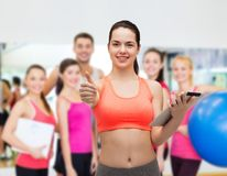 Sporty woman with tablet pc computer Stock Images