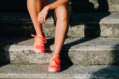 Sporty woman taking a workout rest Stock Photo
