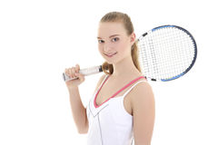 Sporty woman with with a tennis racket Stock Photos