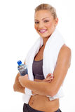 Sporty woman towel Royalty Free Stock Image
