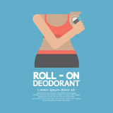 Sporty Woman Using Roll-on Deodorant. Vector Illustration Royalty Free Stock Images