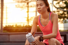 Sporty woman water bottle Royalty Free Stock Image