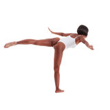 Sporty woman in white one piece swimsuit leotard. Black ethnic African-American gymnastics ballet dancer woman in white one piece leotard Stock Image
