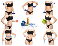 Free Sporty Woman With Dumbbells, Measuring Tape And Apple Royalty Free Stock Photos - 81258868