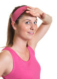 Sporty woman after workout   Royalty Free Stock Images